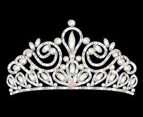 tiara crown women's wedding with white stones