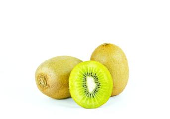 kiwi fruit and sliced segments isolated on white background