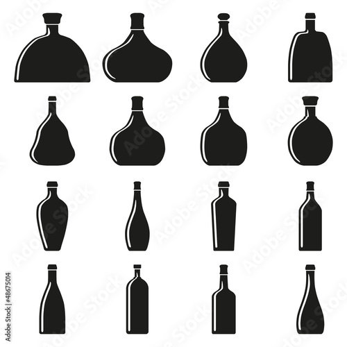 Set of bottles. Vector illustration.