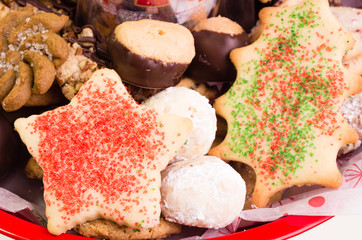 Festive holiday cookie tray