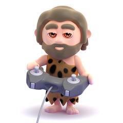 Caveman plays videogames all day