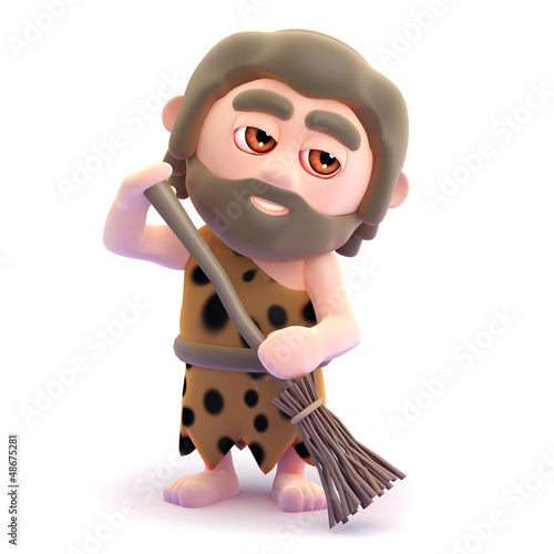 Caveman cleans up his cave for the guests