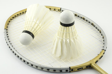 Yellow racket isolate with white background