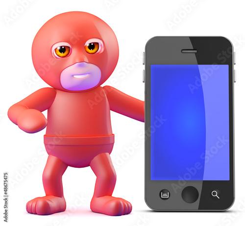 Superhero with his smartphone