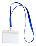 Blank identification card with blue neckband isoleted on white