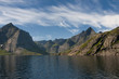 Lofoten Island Norway Fjord view from the boat