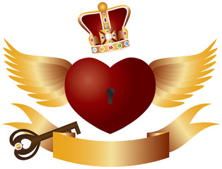 Flying Heart with Crown Jewels and Key Illustration