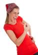 Super Tag - glückliche Frau in Rot isoliert