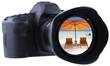 plage de rêve sur filtre d'objectif appareil photo