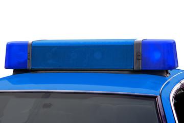 Blue light of a police car