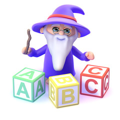 Wizard learns his ABC with magic
