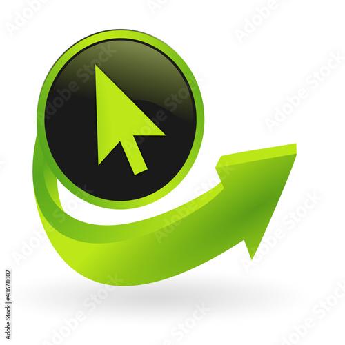 bouton curseur flêche verte