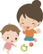 若いお母さんとハイハイする乳児