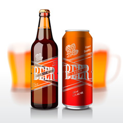 Beer bottle and can, vector Eps10 illustration.