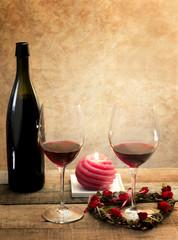 red wine glasses in romantic atmosphere