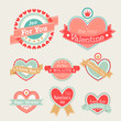 Valentine`s Day set - labels and emblems. Vector illustration.