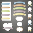 Vector Illustration of Different Colorful Ribbons and Labels