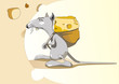 Mouse with a bag of cheese.