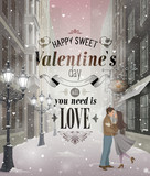 Valentine`s Day greeting card - snowy romantic street.