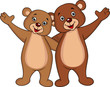 Bear couple cartoon waving hands