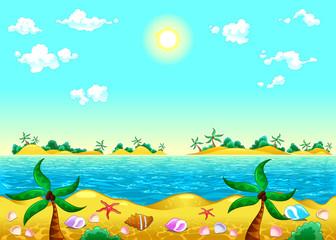 Seashore and ocean.