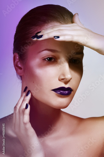 beautiful caucasian young woman with glamour make-up