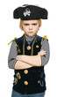 Angry little pirate standing with folded hands