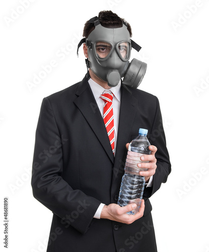Business man with gas mask holding bottle water, isolated