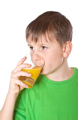 Boy drinking juice