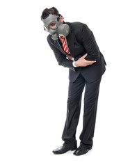 Infected business man with gas mask have stomach