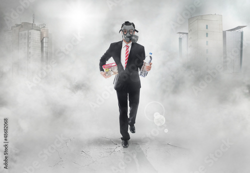 Business man with gas mask running, survival concept