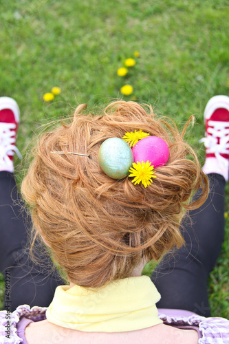 Girl In Grass With Easter Eggs