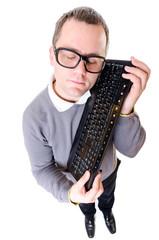 Man keep computer keyboard