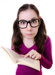 Nerdy Young Woman Student Reading Book