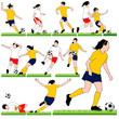 12 Female Soccer Silhouettes Set