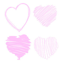 sketch of different loving hearts