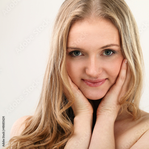 Beautiful middleaged woman with clear face