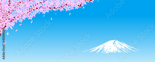 Fuji Mt. with Cherry flowers, vector file
