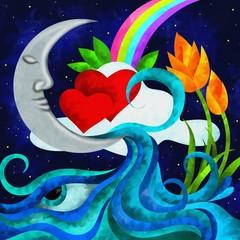 luna e cuori