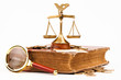 law book, money , magnifying glass and scales of justice