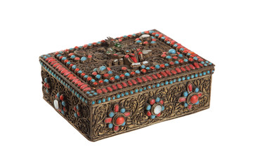 Indian antique jewelry box on a white background