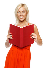 Bright picture of smiling woman with book over white background