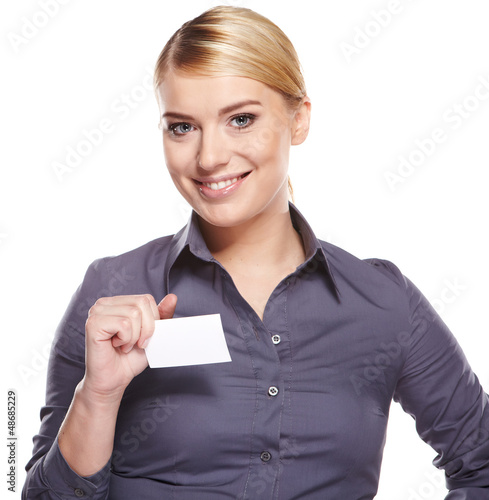 Businesswoman holding credit card