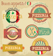 Pizzeria label design set