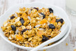 pumpkin granola with dried fruit and seeds in a bowl closeup