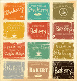 Fototapety Collection of vintage retro grunge food labels