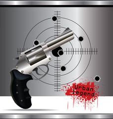 Bullet holes in the background and revolver background