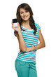 Young woman showing her mobile phone