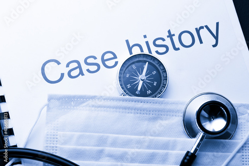 Case history, stethoscope, compass and mask