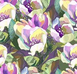 Beautiful seamless pattern of colored flowers